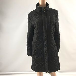 Cole Haan Black Quilted Puffer Long Winter Jacket